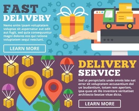 Fast delivery delivery service flat illustration concepts set