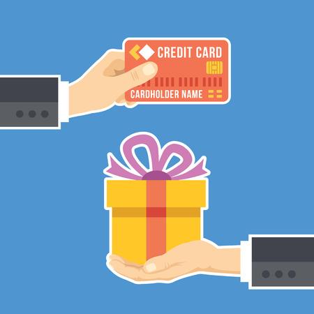 dar un regalo: Mano con la tarjeta de crédito y de la mano con el regalo