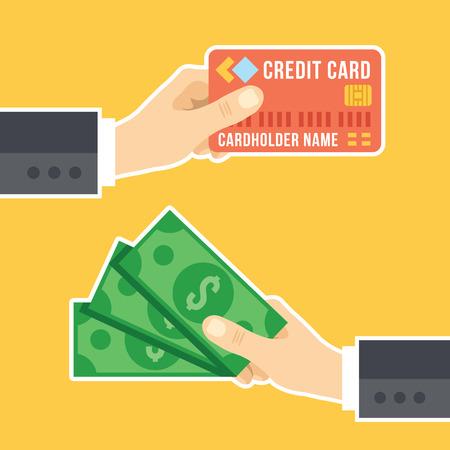 Hand met creditcard en hand met contant geld