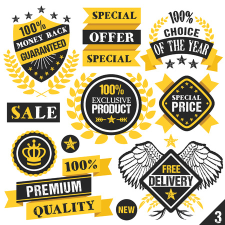 quality guarantee: Black and yellow stickers badges labels and ribbons. Set 3 Illustration
