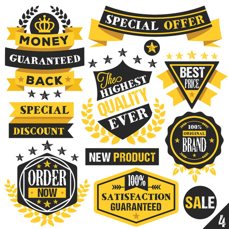 yellow vector: Black and yellow stickers badges labels and ribbons. Set 4 Illustration