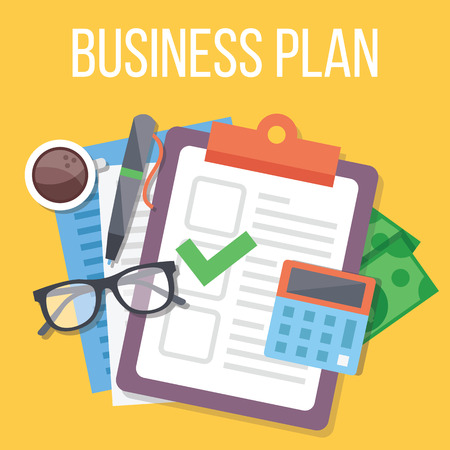 Business plan flat illustration