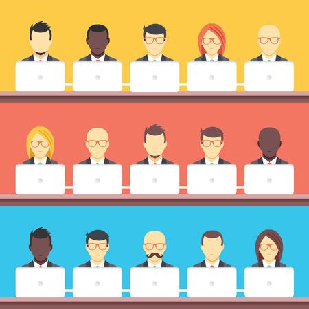 hombres ejecutivos: Trabajo en equipo central Coworking ilustración plana conceptos