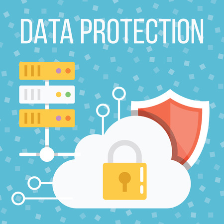 protected database: Data protection flat illustration Illustration