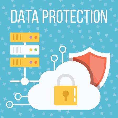 proteccion: Protecci�n de datos ilustraci�n plana Vectores