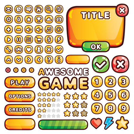 Interface elements for web and mobile games and apps