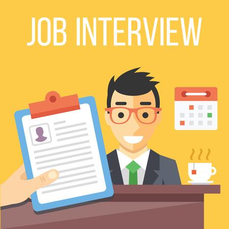 recruter: Entretien d'embauche illustration plat Illustration