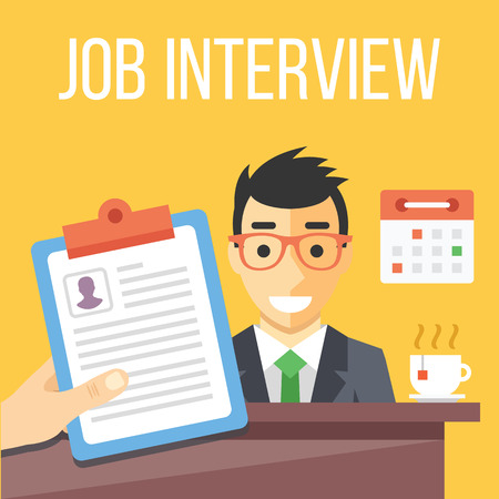 contrato de trabajo: Entrevista de trabajo ilustración plana