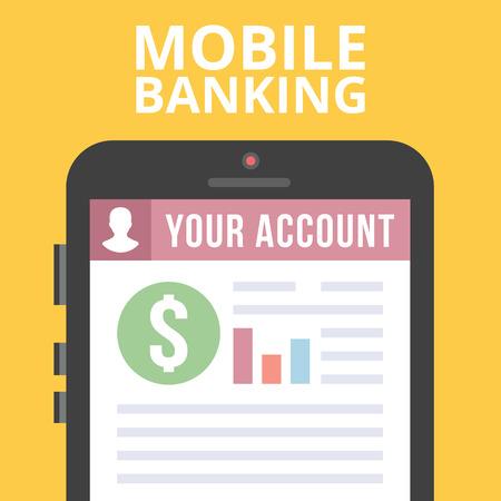 online service: Mobile banking flat illustration Illustration