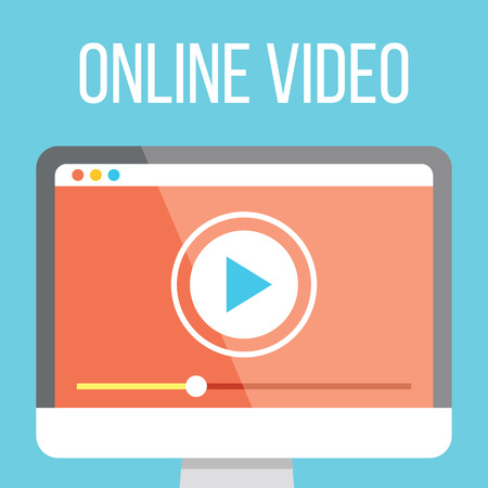 Online video flat illustration 向量圖像