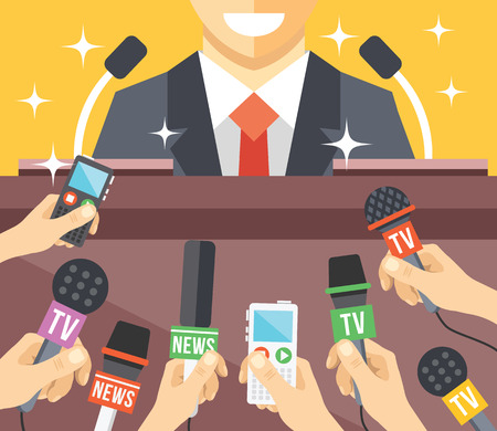 to interview: Press conference event flat illustration Illustration