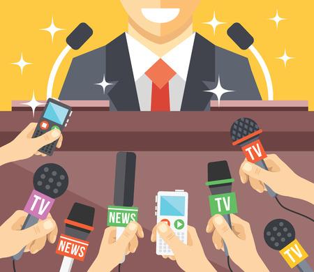 rueda de prensa: Rueda de prensa de eventos plana ilustraci�n Vectores