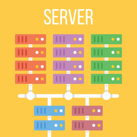 datacenter: Server center flat illustration