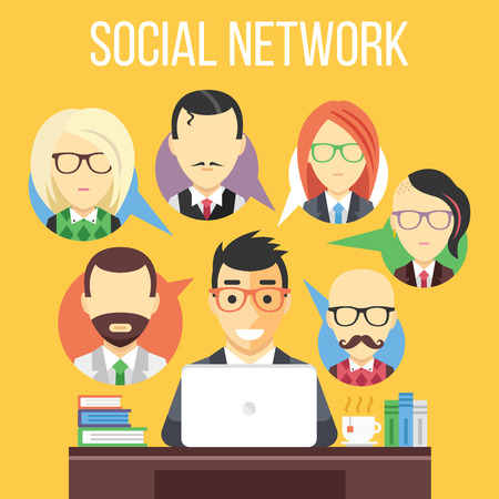 web banner: Social network communication flat illustration Illustration