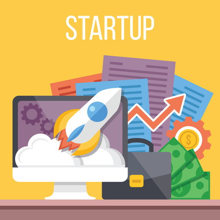 internet marketing: Startup flat illustration