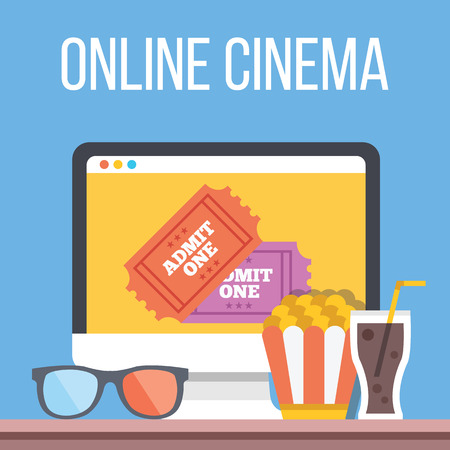 computadora caricatura: Cine en línea de Internet en streaming plana ilustración
