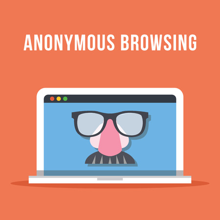 browsing: Anonymous browsing flat illustration concept
