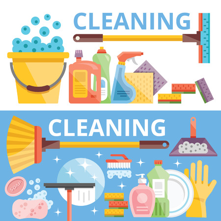 cleaning equipment: Cleaning flat illustration concepts set Illustration