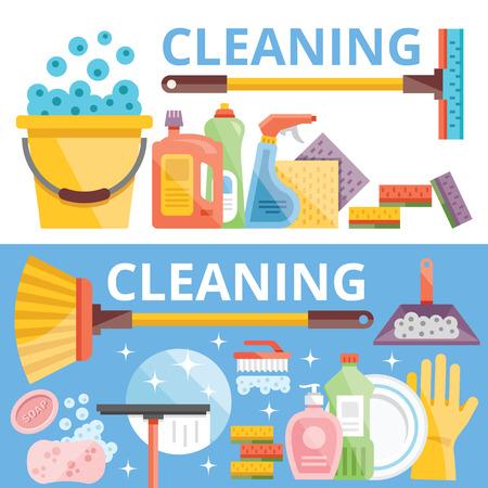 cleaning equipment: Pulizia concetti illustrazione Flat Vettoriali
