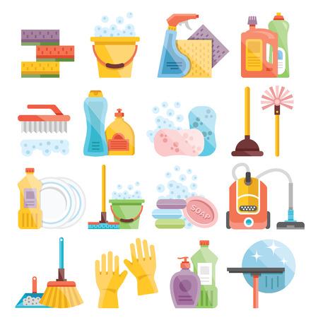 orden y limpieza: Artículos de uso doméstico y de limpieza iconos planos establecidos Vectores