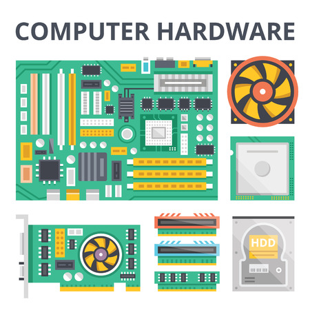 Computer hardware flat illustration concepts and flat icons set