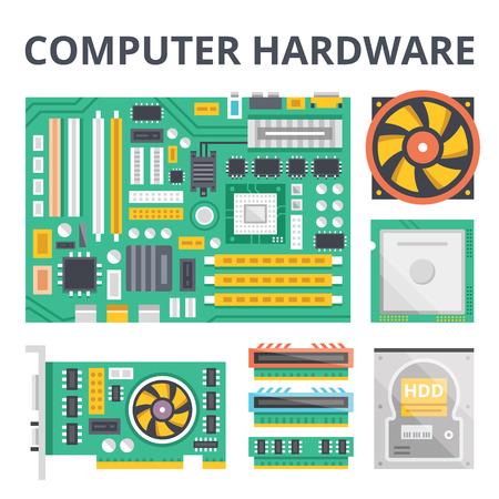 hardware: Hardware de ordenador ilustración plana conceptos y los iconos planos establecidos