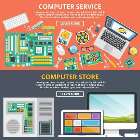 Computer service, computer store flat illustration concepts set Vettoriali