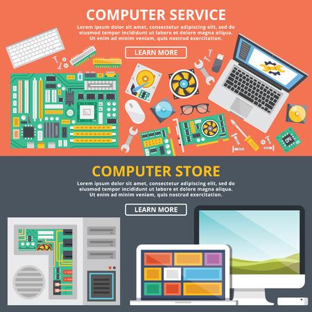 počítač: Počítačové služby, obchod s počítači s plochou ilustrace koncepce set
