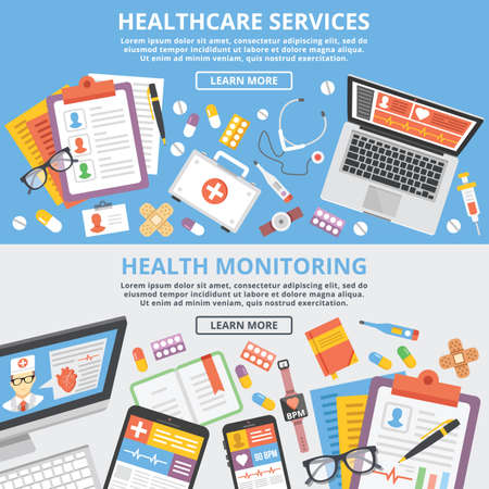 medical record: Healthcare services, health monitoring, research flat illustration concepts set