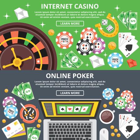 ruleta de casino: Casino en internet, póquer en línea ilustración plana conceptos ajustado Vectores