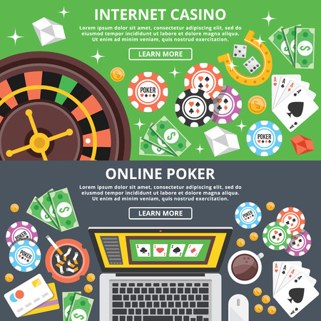 Internet casino, online poker flat illustration concepts set Illustration