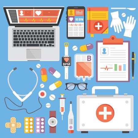 simbolo medicina: Iconos planos sanitaria y medicina plana ilustraci�n conceptos y establecer Vectores