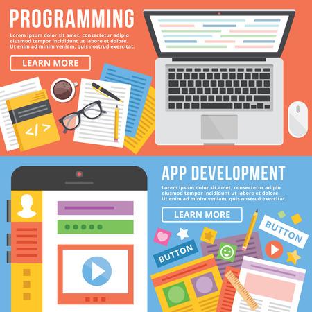 Programming, app development flat illustration concepts set Ilustração