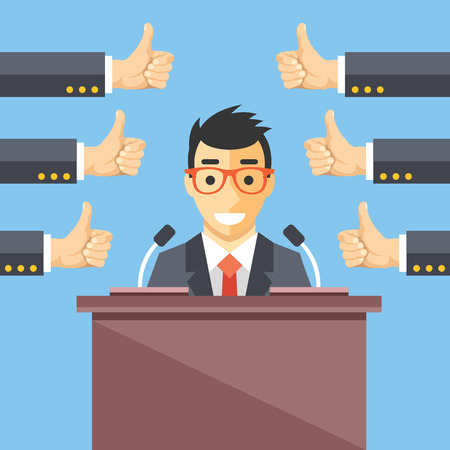 ceo: Speaker and thumbs up. Great speech, excellent speaker, productive ideas flat illustration concept