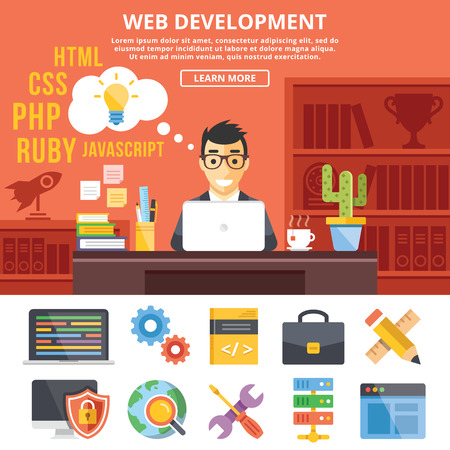 Web development flat illustration concepts and flat icons set  イラスト・ベクター素材