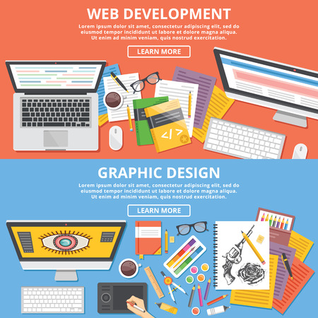 Web development, graphic design flat illustration concepts set