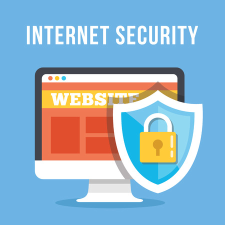 computer virus protection: Internet security flat illustration concept