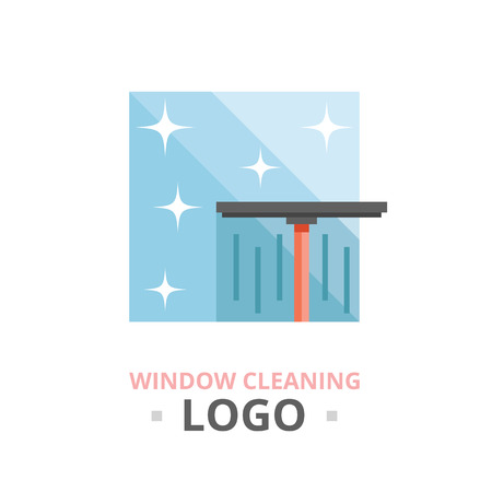 washing windows: Window cleaning logo concept