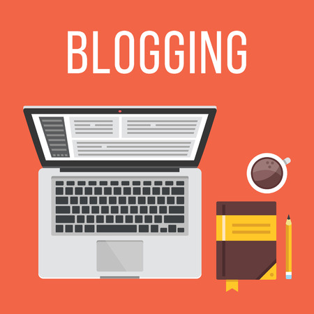 Blogging. Ordinateur portable, bloc-notes, un crayon et tasse de café. Vue d'en haut. Design plat illustration notion Banque d'images - 43279822