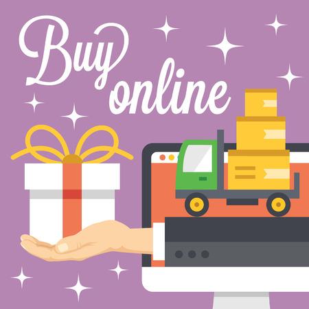 easy: Buy online concept. Flat illustration