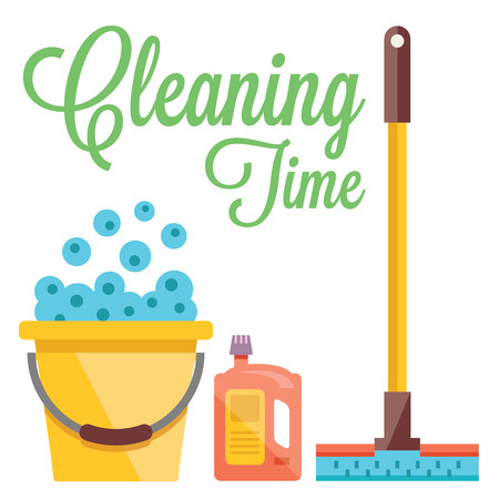 cleaning equipment: Cleaning time concept. Flat illustration Illustration