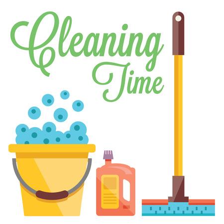 limpieza  del hogar: Limpieza concepto de tiempo. Ilustración plana Vectores