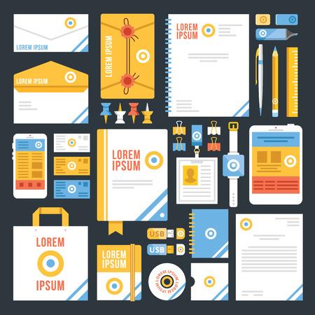 identity template: Flat corporate identity template design. Creative vector illustration Illustration