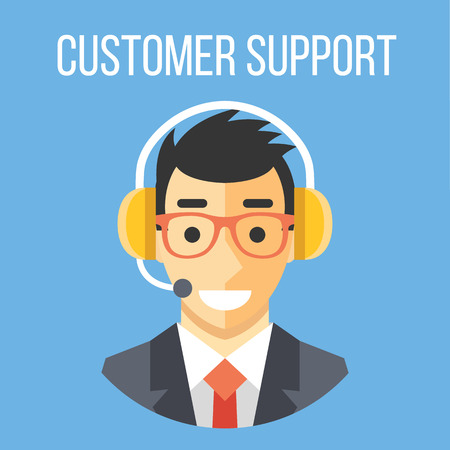 talking phone: Happy customer support manager with headphones