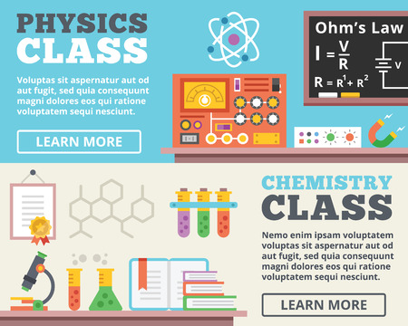 chemistry formula: Physics class and chemistry class concepts. Top view. Trendy flat design banner illustrations