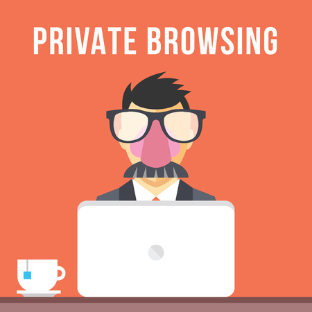 surfing the net: Private browsing flat illustration concept