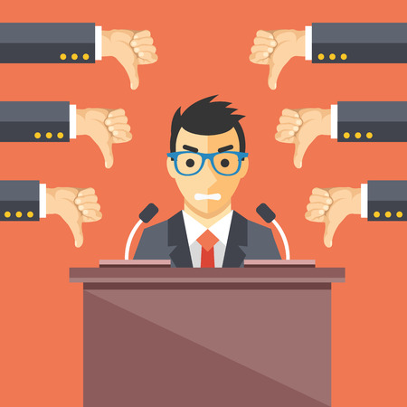 speaker: Speaker and thumbs down. Businessman at rostrum. Awful speech, bad speaker, nonproductive ideas flat illustration concept Illustration