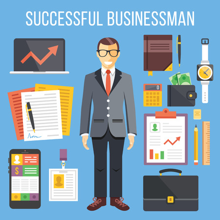 successful businessman: Successful businessman and business stuff flat illustration and flat icons set