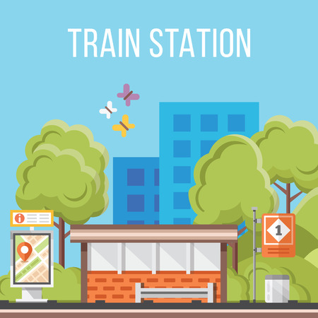 station: Train station. Flat vector illustration