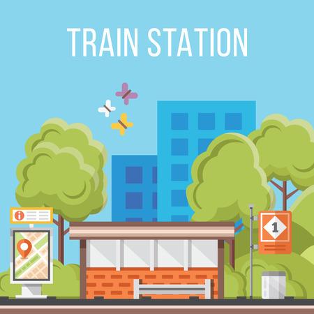 Treinstation. Platte vector illustratie